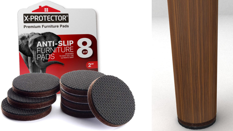A stack of sticky furniture protectors against a chair leg.