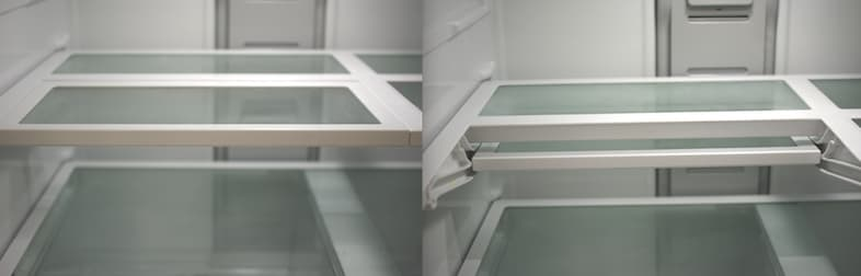 Some refrigerators have retractable shelves that can make room for taller food or drink items.
