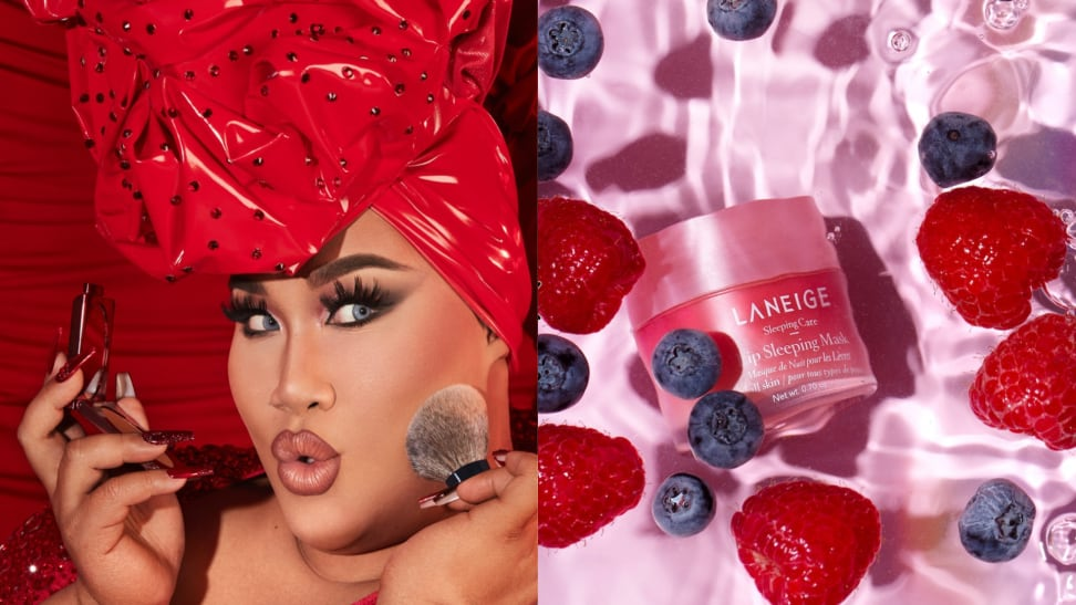 On the left: The founder of One/Size, Patrick Star, is modeling a One/Size beauty blush. On the right:  Laneige lip mask in floating next to strawberries and blueberries
