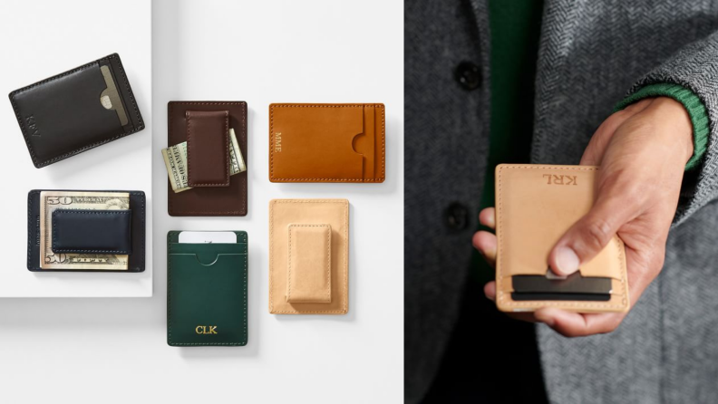 Two images of multicolored wallets.