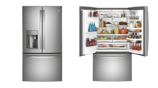 A closed French-door refrigerator stands next to an open one
