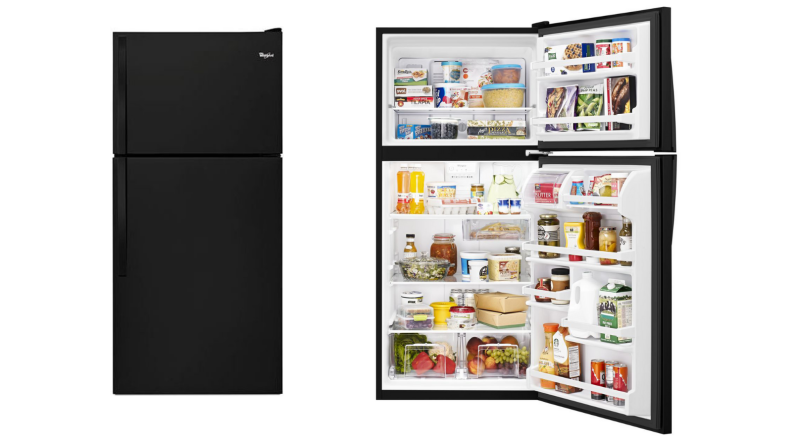 Two images of the same black fridge, one with doors shut and the other with doors open and food inside.