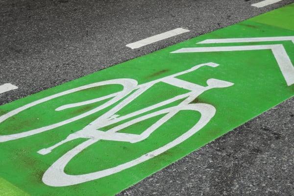 A sample photo of a bike lane taken by the Nikon Coolpix P340.