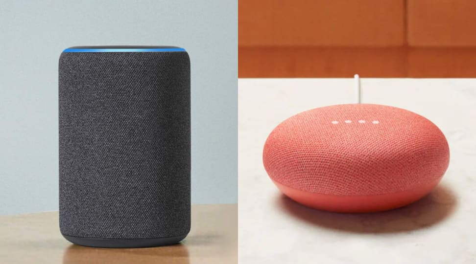 An Amazon Echo speaker sits next to a Google Home Mini speaker.
