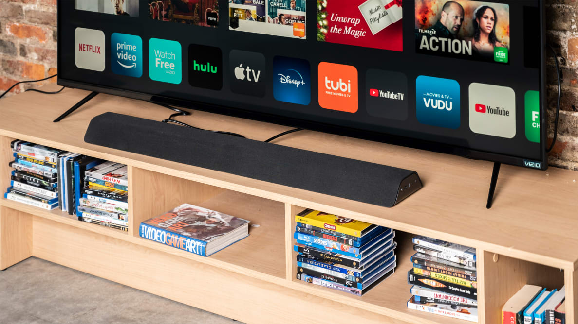 The Vizio M-Series All-in-One soundbar features a 2.1-channel system with a pair of built-in subwoofers.