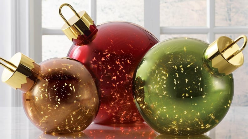 These oversized ornaments light up from the inside—how cool is that?