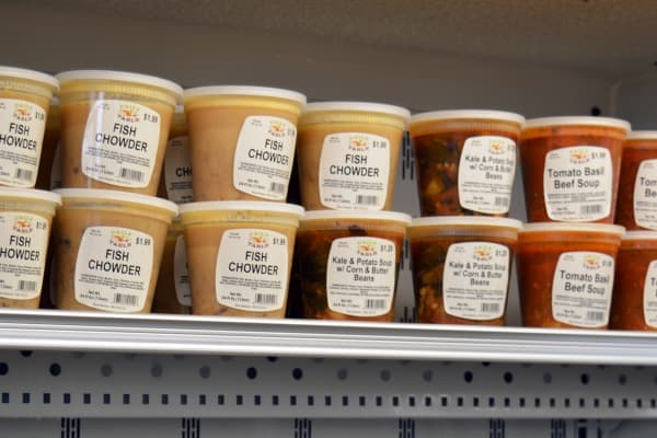 A bevy of soups are available. All vegetarian varieties are $1.29; if they have meat or fish, it goes up to $1.99 for 24 ounces.