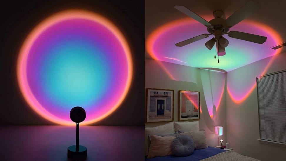 Left: Sunset Lamp against wall; Right: Sunset lamp on ceiling