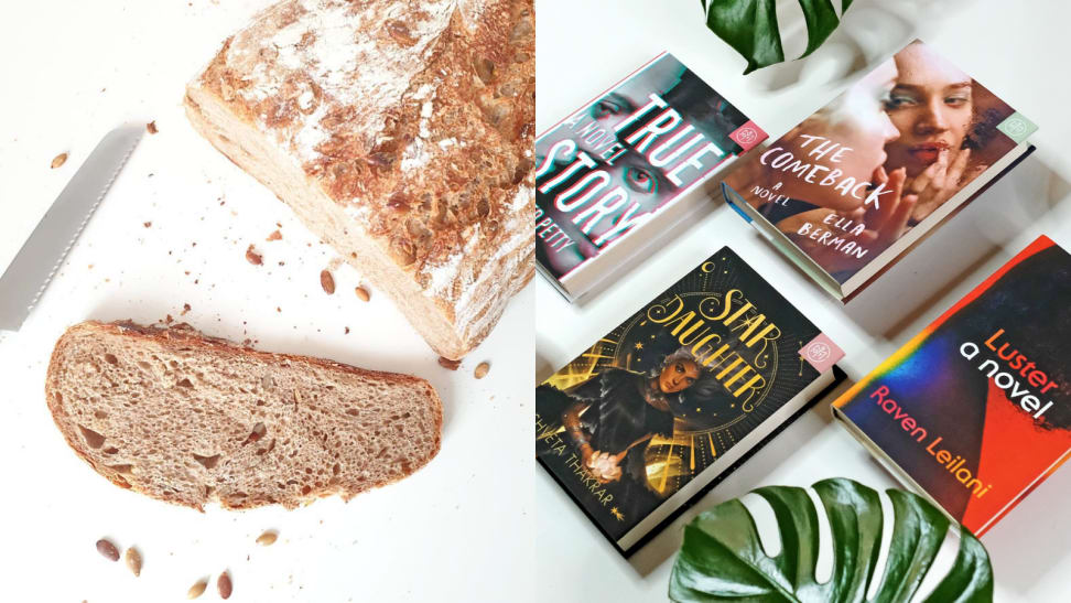 A bread loaf and five books