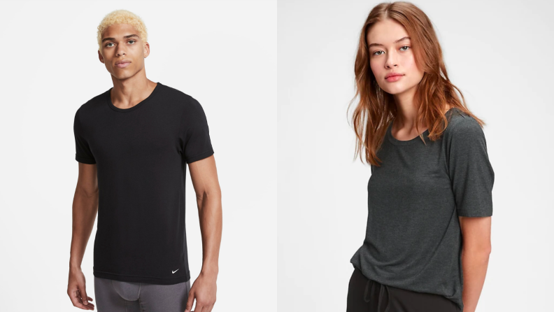 Man wearing Nike undershirt made of modal, woman wearing basic Madewell t-shirt