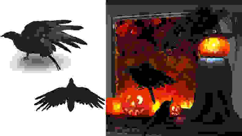 2Pcs Halloween Black Feathered Crow
