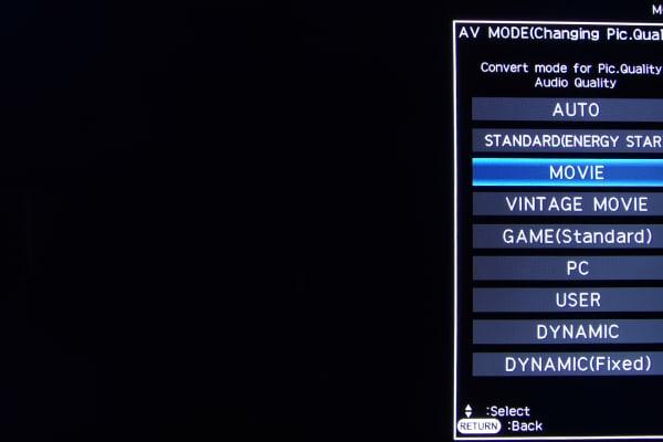 The picture mode menu on the Sharp LC-60EQ10U