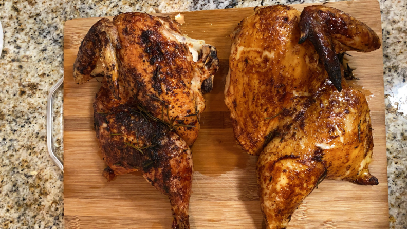 The half of the chicken roasted in my range (left) tasted less tender and juicy than the other half cooked in the sous vide oven (right).