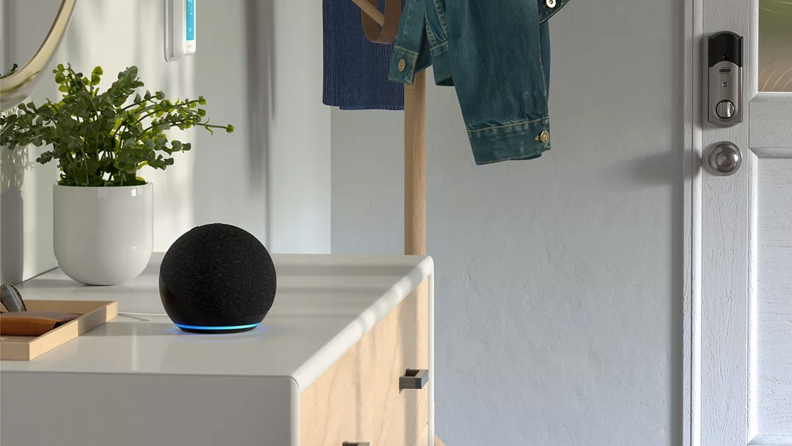 A room with an Echo Dot on top of a drawer
