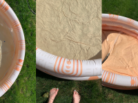 On right, Minidip's Sunkissed Terracotta pool filled with water. In middle, feet standing on grass in front of Minidip's Sunkissed Terracotta empty pool. On left, Minidip's Sunkissed Terracotta pool with hose inside.