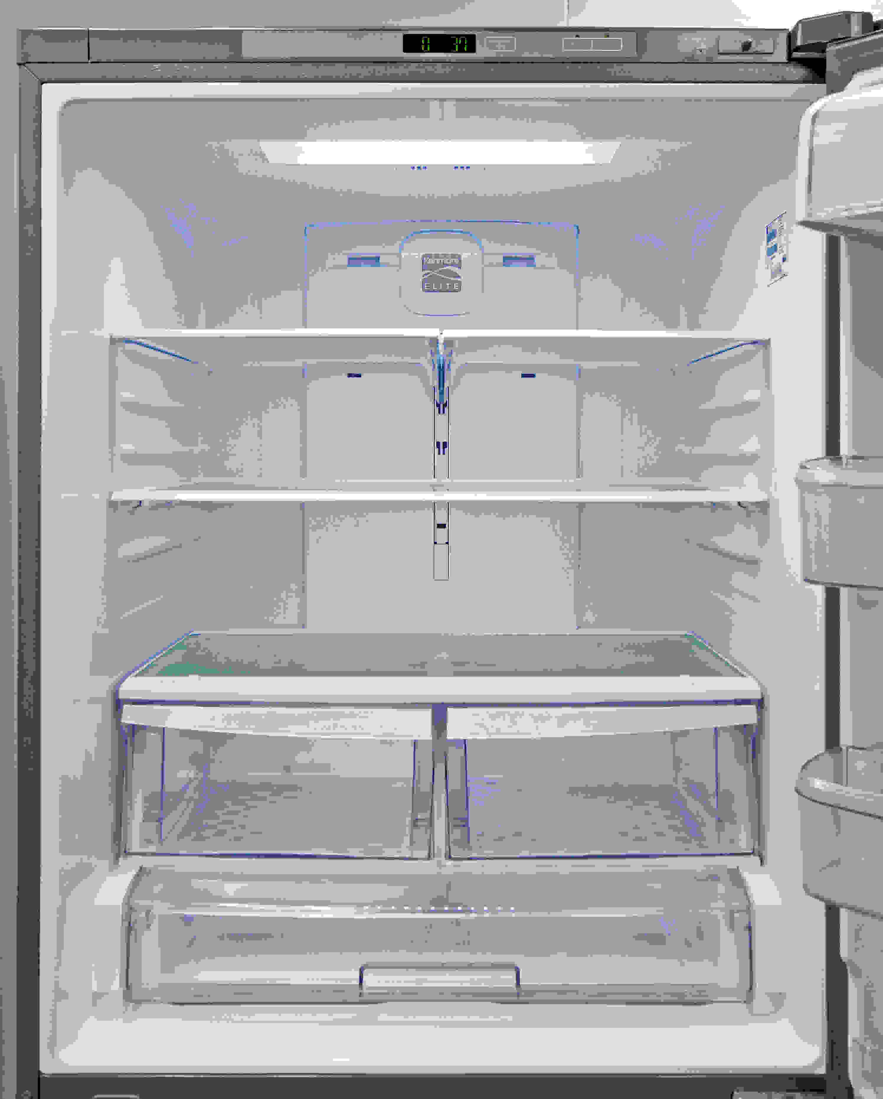 A combination of full-width and half-width shelves allows you to customize fridge storage inside the Kenmore Elite 79043.