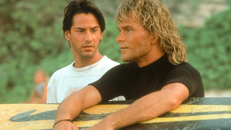 Keanu Reeves and Patrick Swayze become surfin' buddies in 'Point Break.'