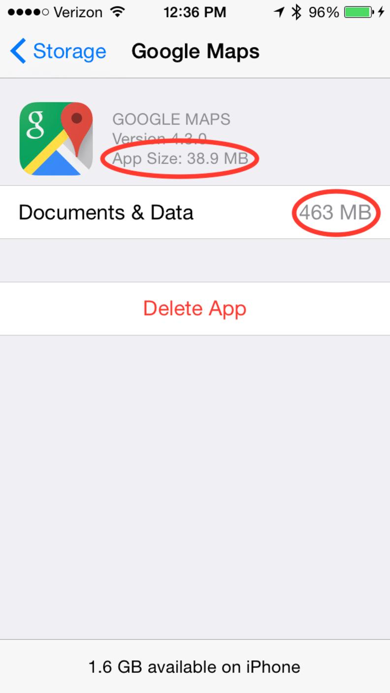 Google Maps app storage screen