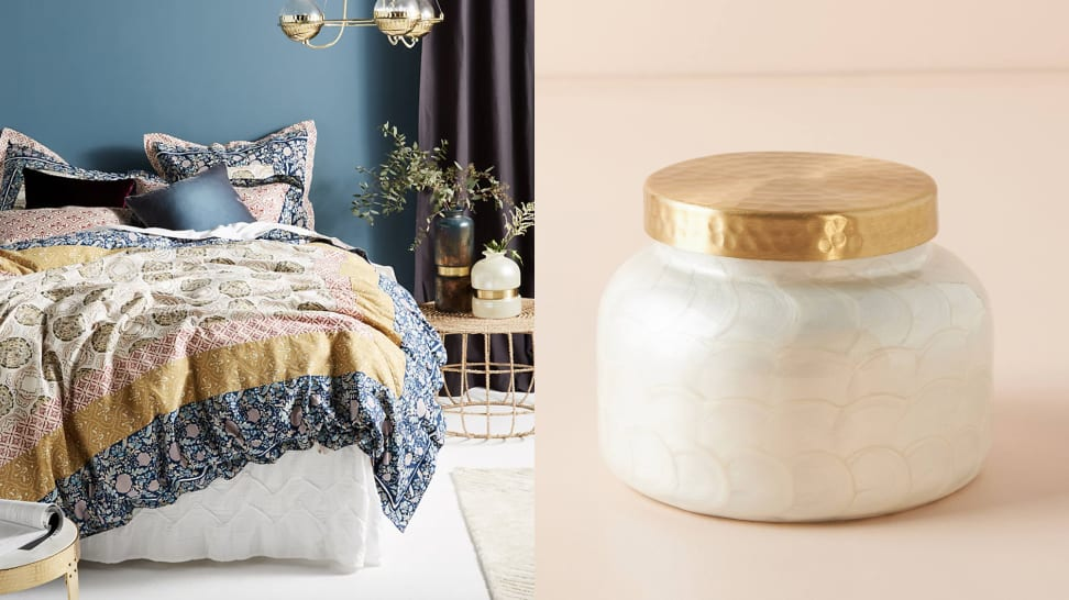 Anthropologie bedding and a Capri Blue candle.