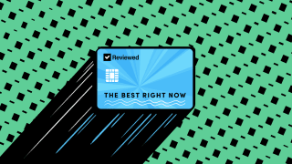 An illustration of a blue Reviewed-branded credit card that reads The Best Right Now