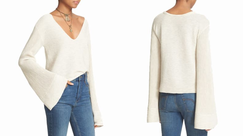 Free People Starman V-Neck Rib Bell Sleeve Knit Pullover
