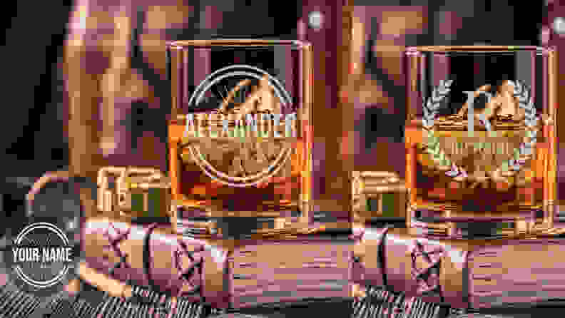 whiskey glasses with etched custom initials