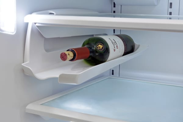 The Frigidaire Professional FPBC2277RF's optional bottle rack hooks onto a regular shelf, and can also be used for cans.