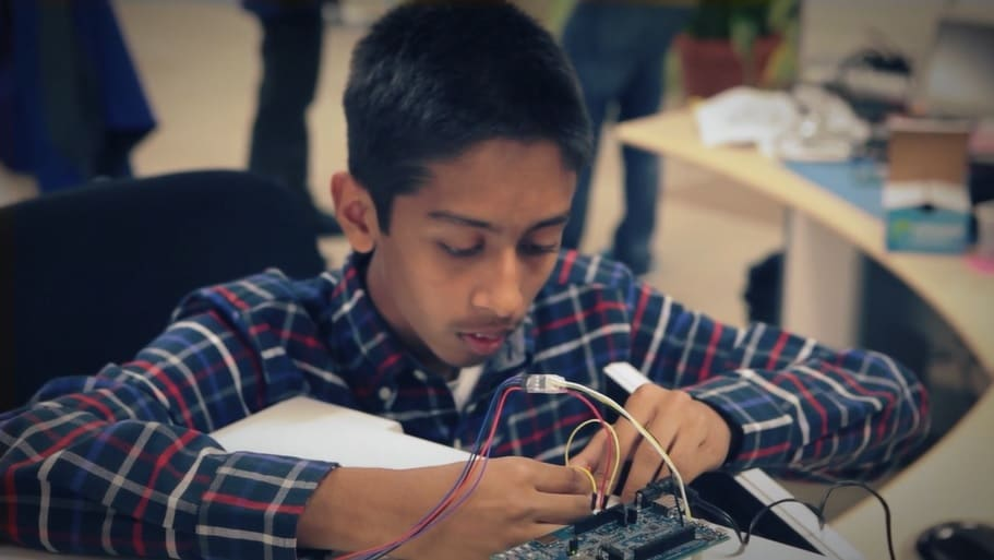Young inventor builds a microwave that can perfectly heat your food.