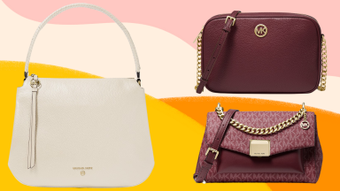 A white handbag and two burgundy satchels against a colorful background.