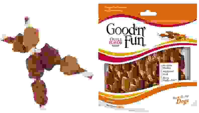 Kebob dog treats on white background