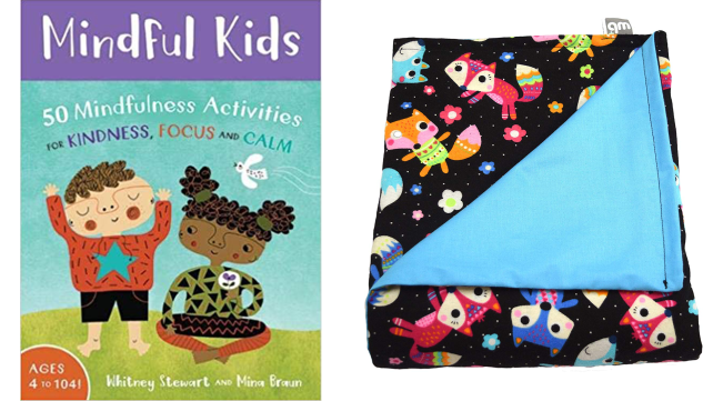 mindfulness cards and weighted blanket