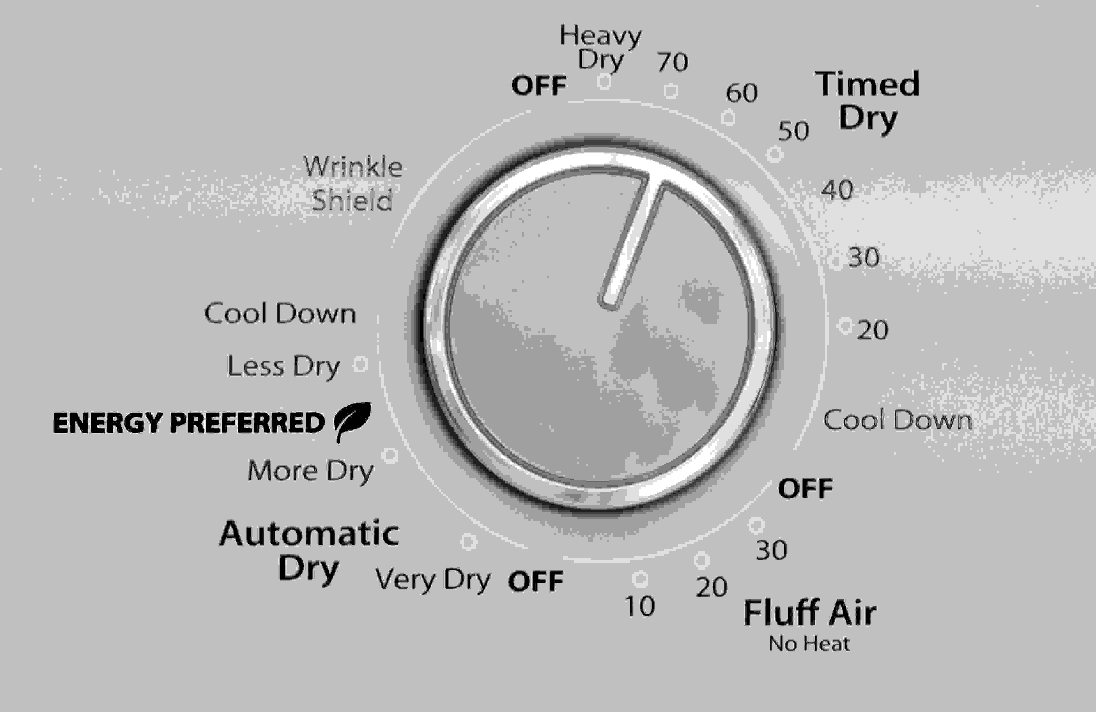 Crank controls mean the Whirlpool WED4815EW lacks a degree of precision found on models with digital displays.