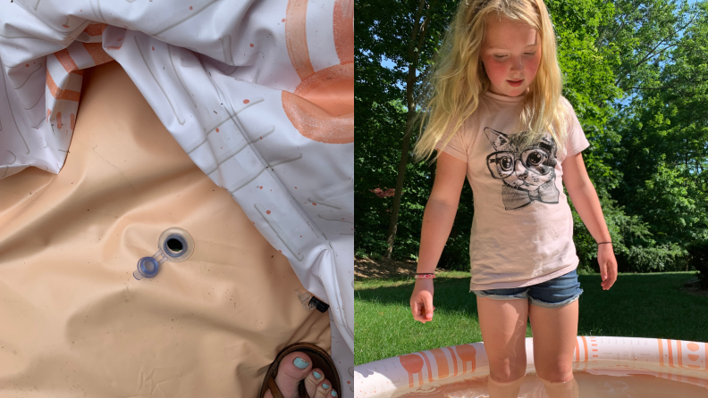 On left, water release drain plug on center of pool floor. On left, young girl standing in the Minnidip Sunkissed Terracotta inflatable pool.