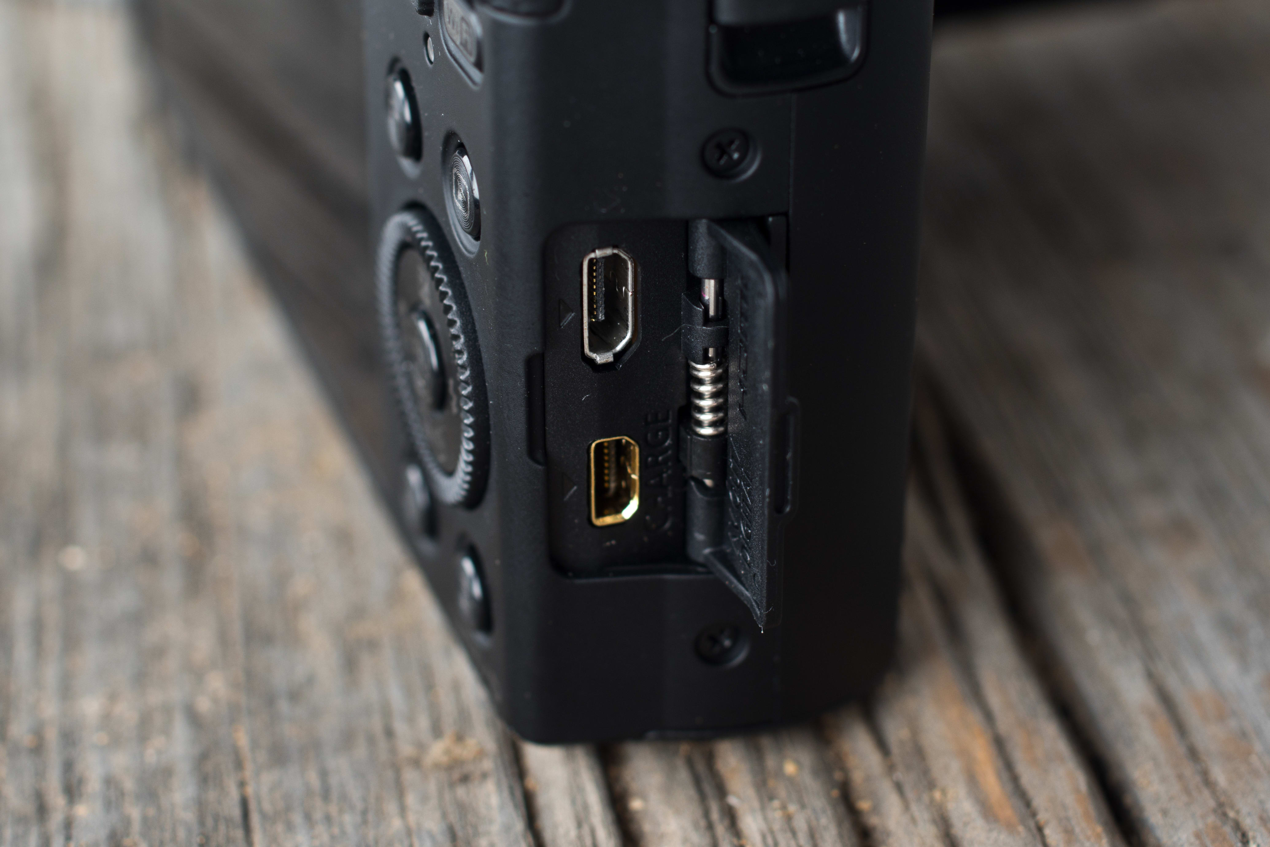 A picture of the Panasonic Lumix ZS40's ports.