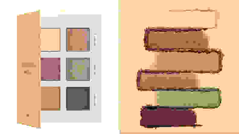 On the left: A BareMinerals neutral-colored eyeshadow palette with six shades. On the right: Six swatches from an eyeshadow palette stacked on each other.