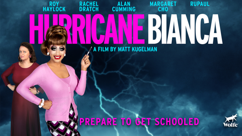 The cover art of Hurricane Bianca with Bianca Del Rio and Rachel Dratch.