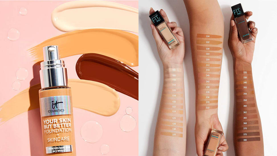 On the left: The It Cosmetics Your Skin But Better Foundation + Skincare lays on a pink background with swatches of four different shades above the bottle. To the right: Three arms of pale, medium, and dark complexions lay across a white background with swatches of the Maybelline Fit Me Matte + Poreless Liquid Foundation on their arms. Each hand holds a different shade of the foundation.