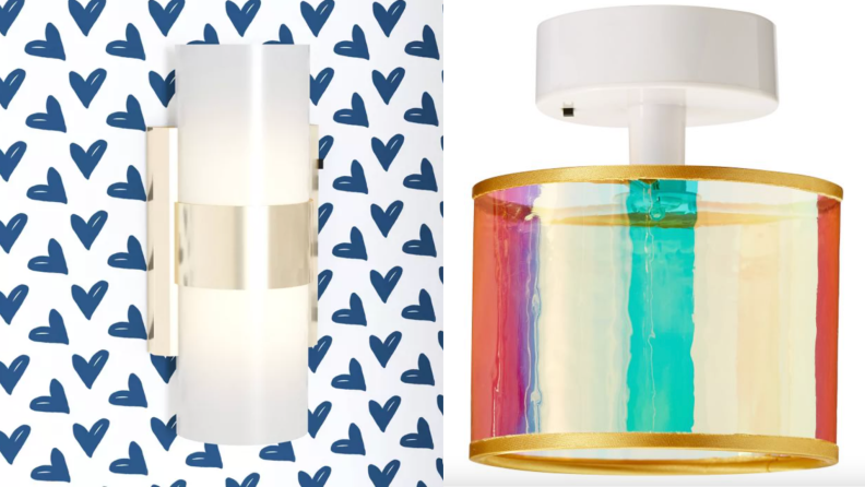 On left, locker Piper sconce light mounted on white and blue heart wallpaper. On right, light gold locker pendant.