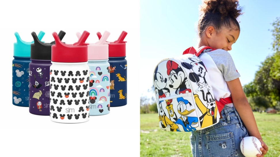 A set of Disney-themed water bottles and a child in a Disney-themed backpack.
