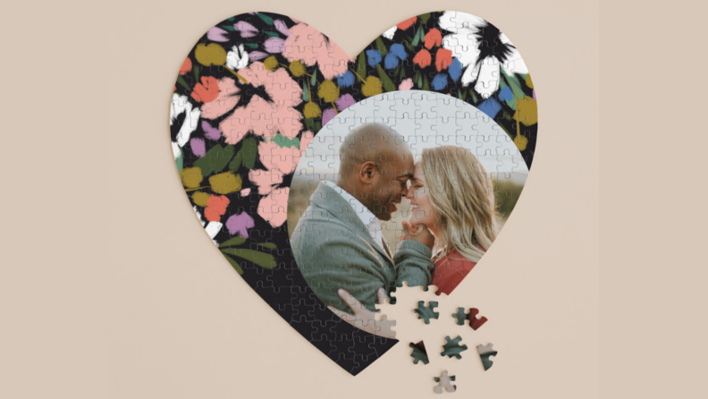 photo of couple on heart shaped puzzle