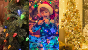 1) close up of a Christmas tree with colorful lights 2) a young child plays with a string of colorful lights 3) A warm room with white lights