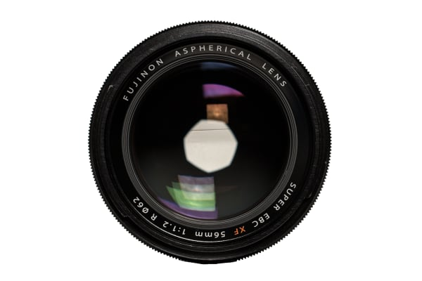 A front view of the Fujinon XF 56mm f/1.2 R.