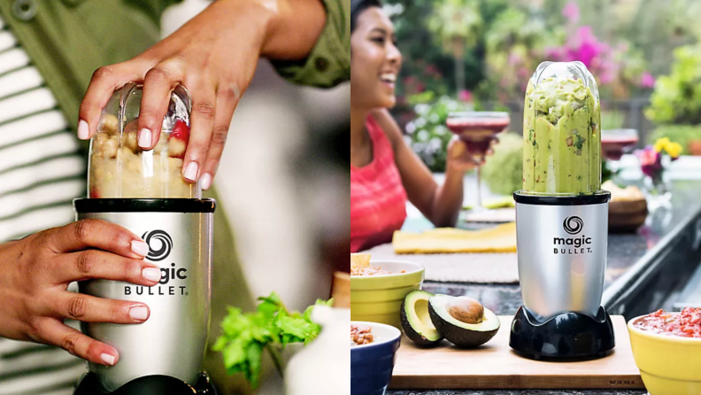 On left hand using Magic Bullet 11-Piece Personal Blender. On right, Magic Bullet Magic Bullet 11-Piece Personal Blender being used outdoors to make guacamole, next to avocados on cutting board and smiling woman.