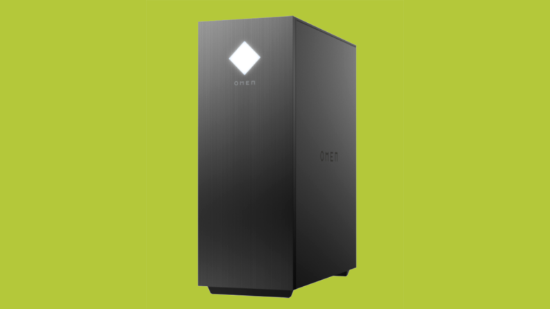 An HP OMEN gaming tower in matte black sits at a slight side angle on a green background.