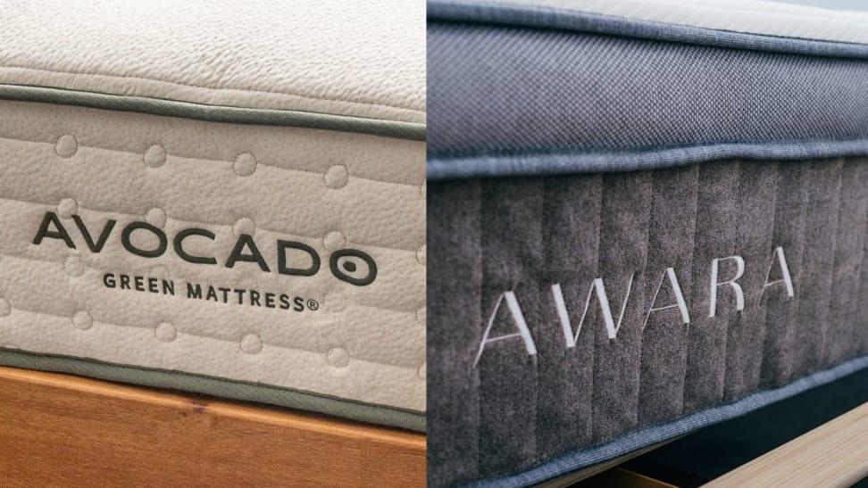 The embroidered logo and name on the Avocado Green Mattress next to the Awara mattress logo