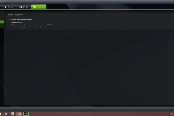 The Battery Boost feature on Nvidia GeForce Experience