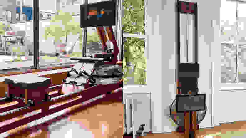 Left: Ergatta rowing machine on floor in home. Right: Ergatta rowing machine leaning against wall.