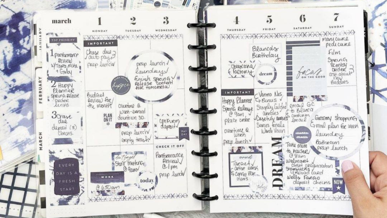 Planner pages designed with events and stickers