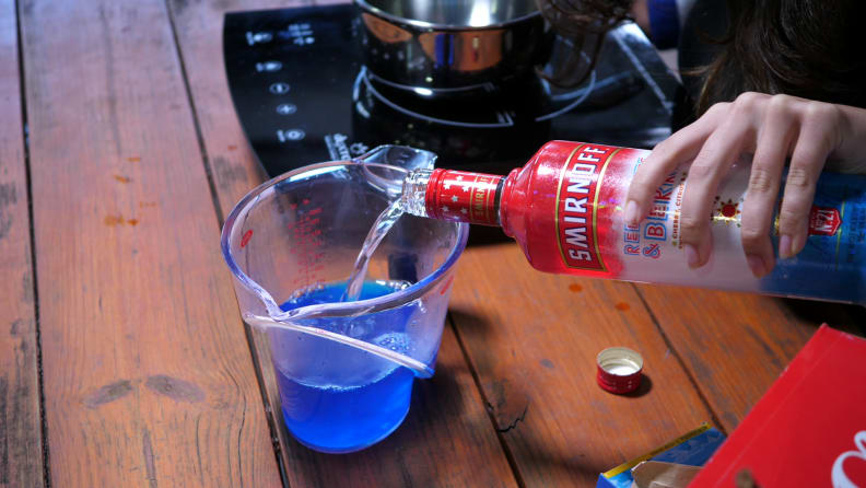Pouring vodka