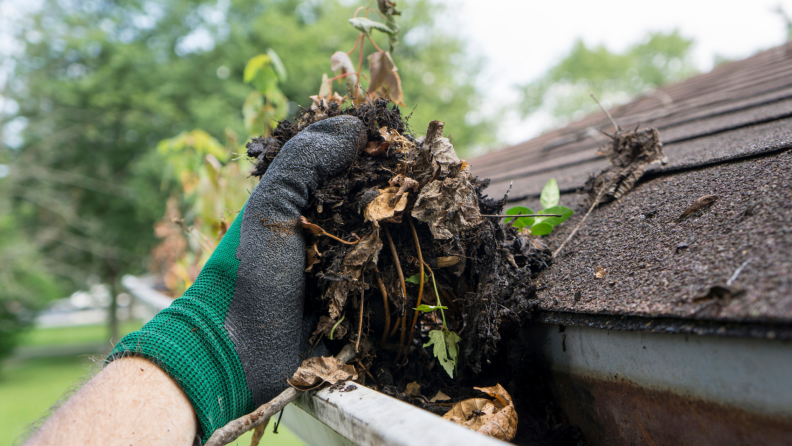 Hands with work gloves cleaning leaves from gutter